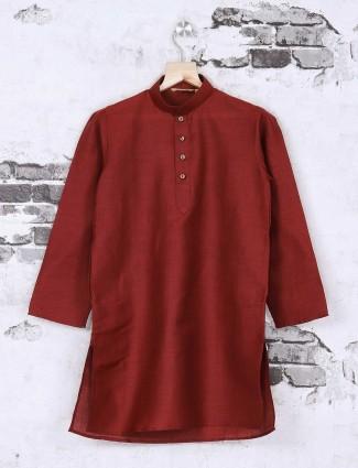 Maroon color solid kurta suit