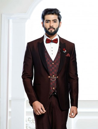 Maroon color terry rayon fabric wedding tuxedo suit