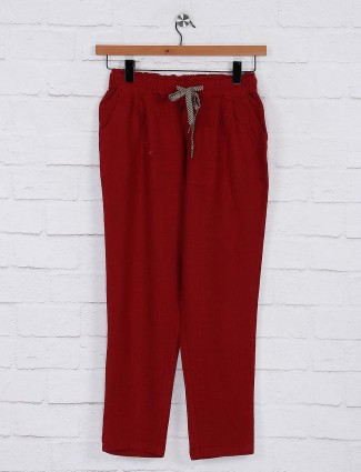 Maroon color womens pyjama in cotton
