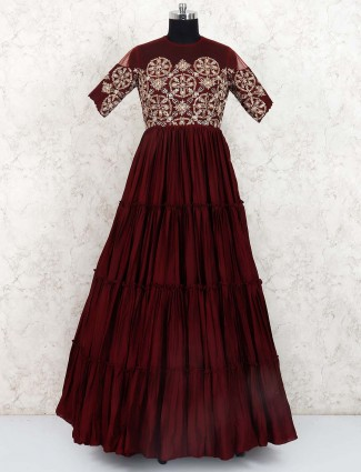 Maroon colored cotton silk fabric gown