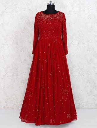 Maroon colored wedding wear floor length gown