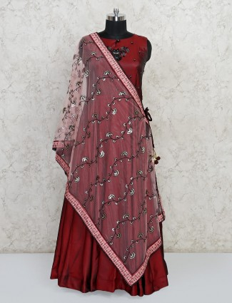 Maroon colour anarkali suit for wedding session