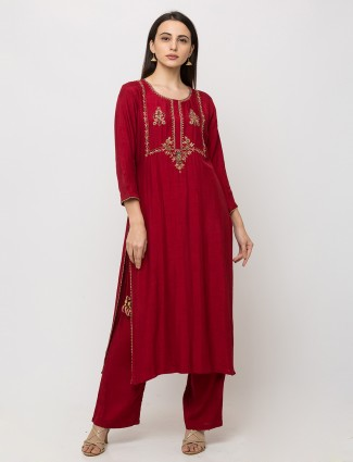 Maroon cotton casual punjabi pant suit