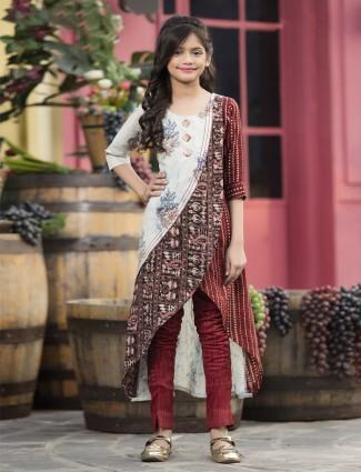 Maroon cotton festive cut style punjabi pant suit