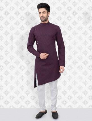 Purple cotton kurta suit festive wear