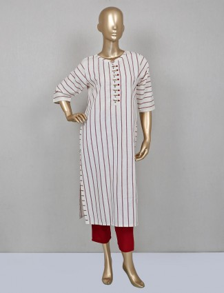 Maroon cotton palazzo with whited striped kameez