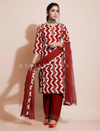 Maroon cotton pant style salwar suit for festive wear