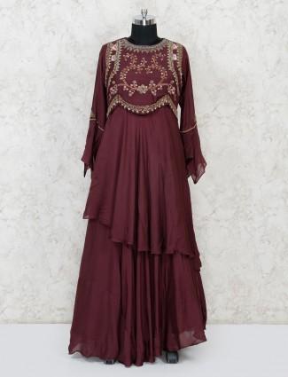 Maroon cotton party wear floor length anarkali suit