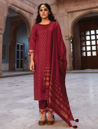 Maroon cotton pinjabi pant suit with zari touch