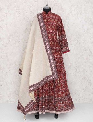 Maroon cotton silk patola design anarkali suit