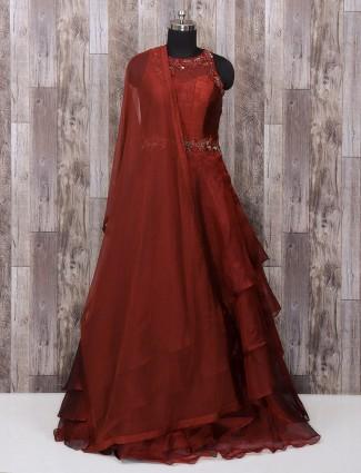 Maroon designer silk anarkali suit