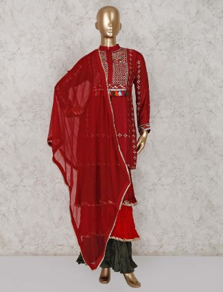 Maroon designer silk punjabi sharara suit