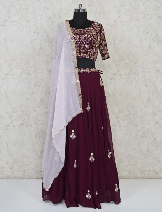 Maroon georgette exclusive lehenga choli