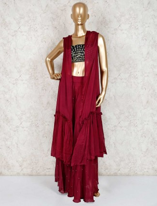 Maroon georgette indo western party sharara suit