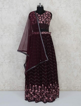 Maroon georgette lehenga choli for wedding wear