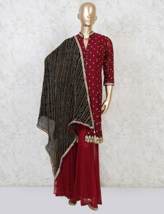 Maroon georgette punjabi sharara suit for festive
