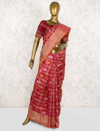 Maroon hue beautiful patola silk saree