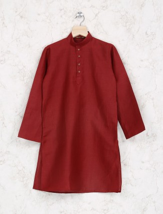 Maroon hue cotton kurta suit for party function