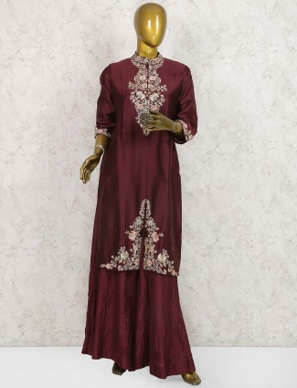 Maroon hue cotton silk festive wear punjabi sharara suit