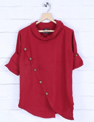 Maroon hue designer cotton wedding kurta