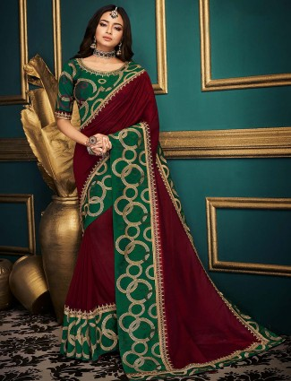 Maroon hue festive cotton silk saree