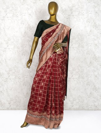 Maroon hue pretty pure silk saree in checks pattern