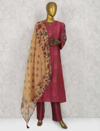 Maroon hue punjabi cotton silk salwar suit