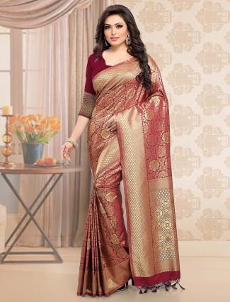 Maroon hued beautiful wedding saree