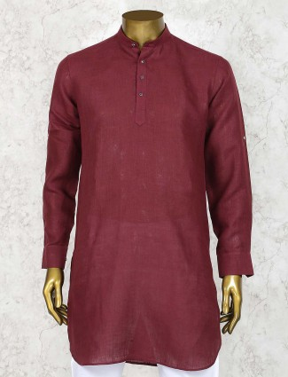 Maroon hued solid festive wear short pathani