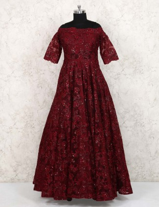 Maroon hued wedding wear net gown