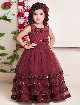 Maroon layer style floor length gown