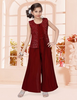 Maroon palazzo suit in georgette for party