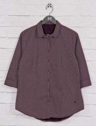 Maroon printed casual wear shirt