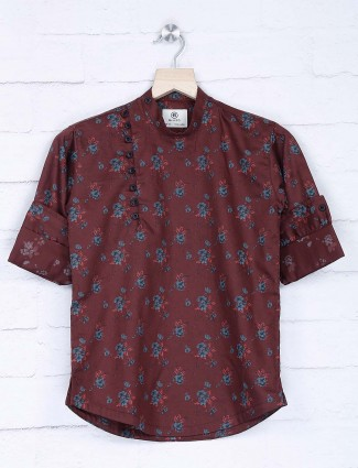 Maroon printed cotton fabric kurta