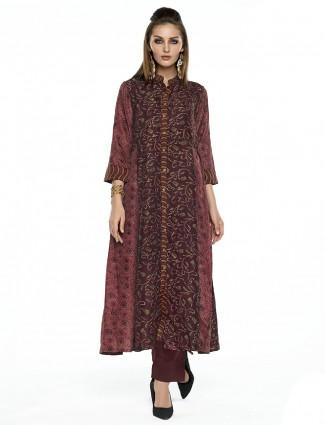 Maroon printed cotton silk salwar suit