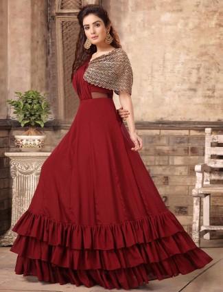 Maroon raw silk designer gown