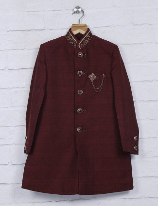 Maroon raw silk indo western
