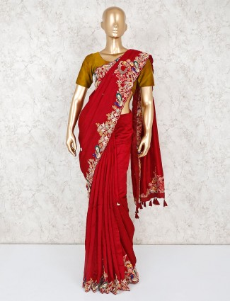 Maroon saree in satin for reception