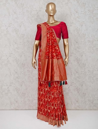 Maroon saree in the bandhej georgette fabric