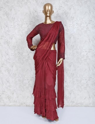 Maroon satin party indo western sharara suit
