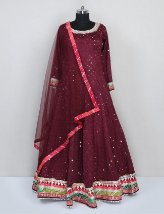 Maroon silk gown for wedding function