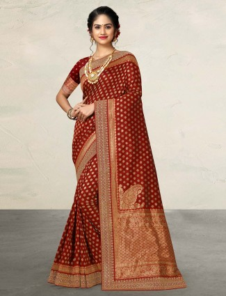 Maroon silk wedding function sari