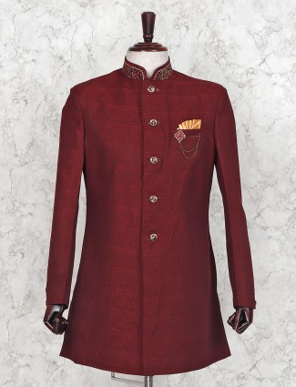 Maroon silk wedding solid mens indo western