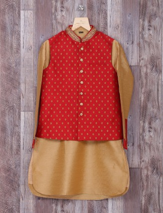 Maroon silk wedding waistcoat set