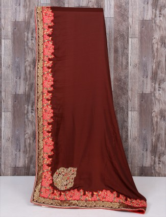 Maroon silk wedding wear saree