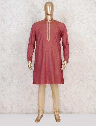 Maroon solid cotton stand collar kurta suit