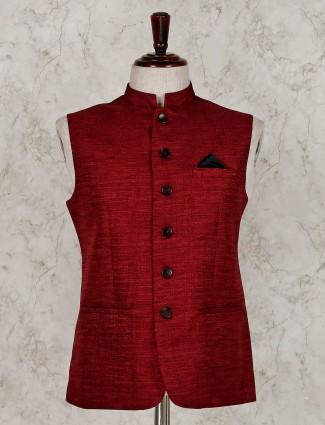 Maroon solid raw silk waistcoat