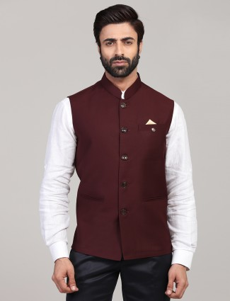 Maroon solid terry rayon mens party wear waistcoat