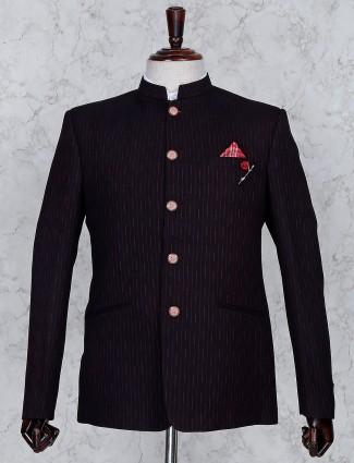 Maroon stripe terry rayon fabric jodhpuri blazer
