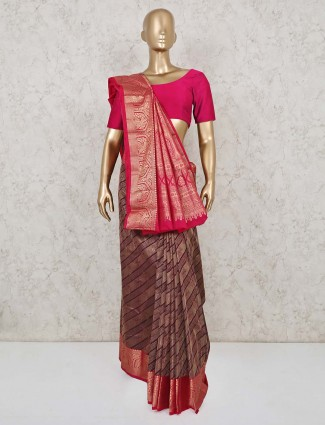 Maroon wedding reception saree in pure south silk